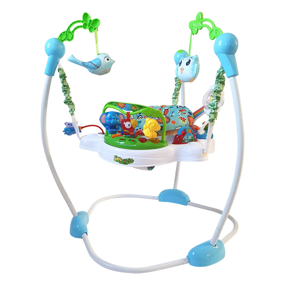Baby Jumper with 360° Rotating Seat - Jungle Blue