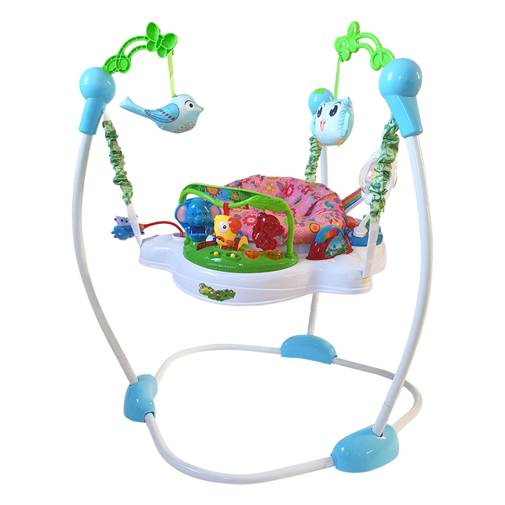 Baby Jumper with 360° Rotating Seat - Jungle Pink