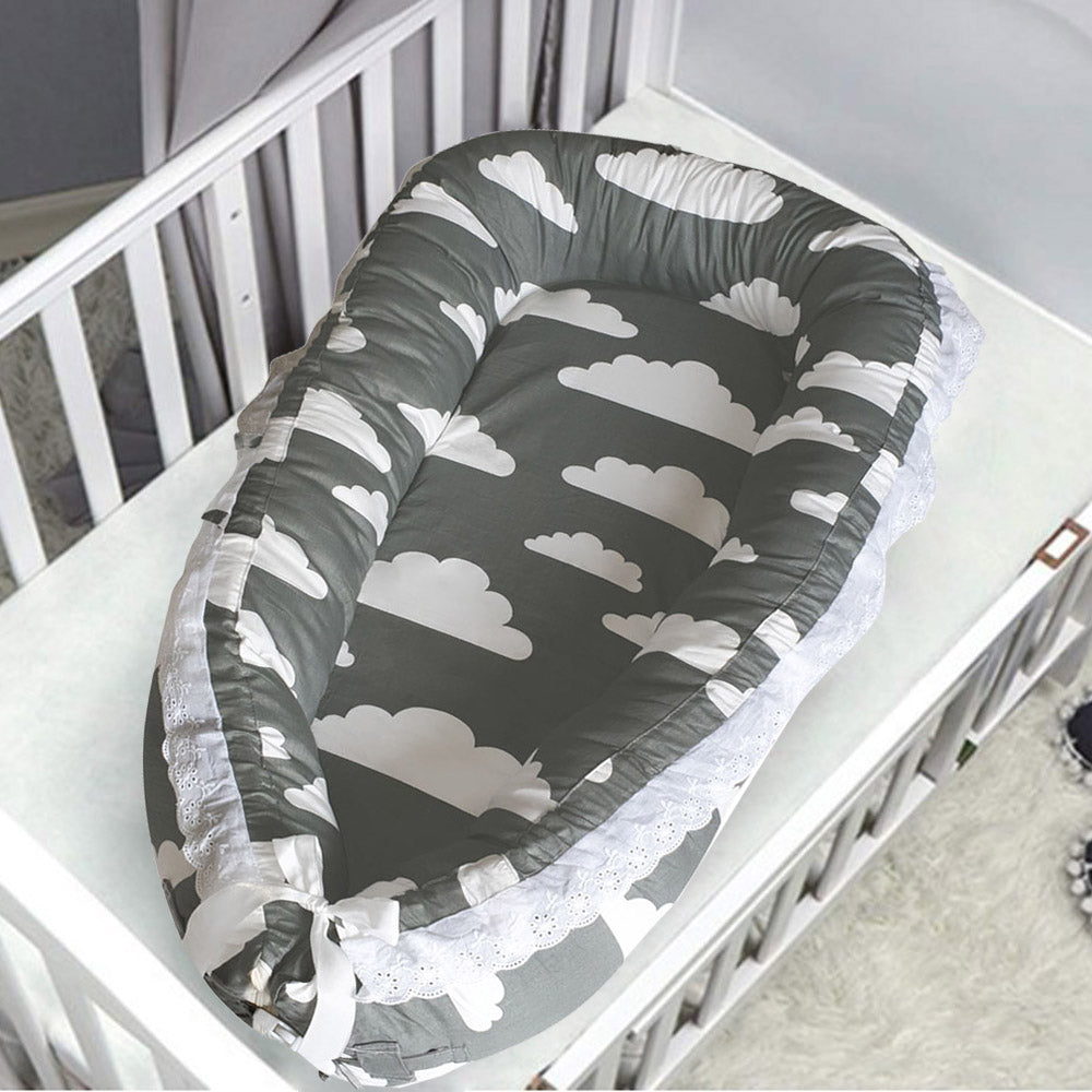 Baby Nest - Grey with White Clouds