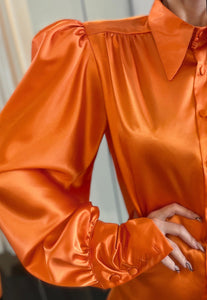 Orange Satin Shirt