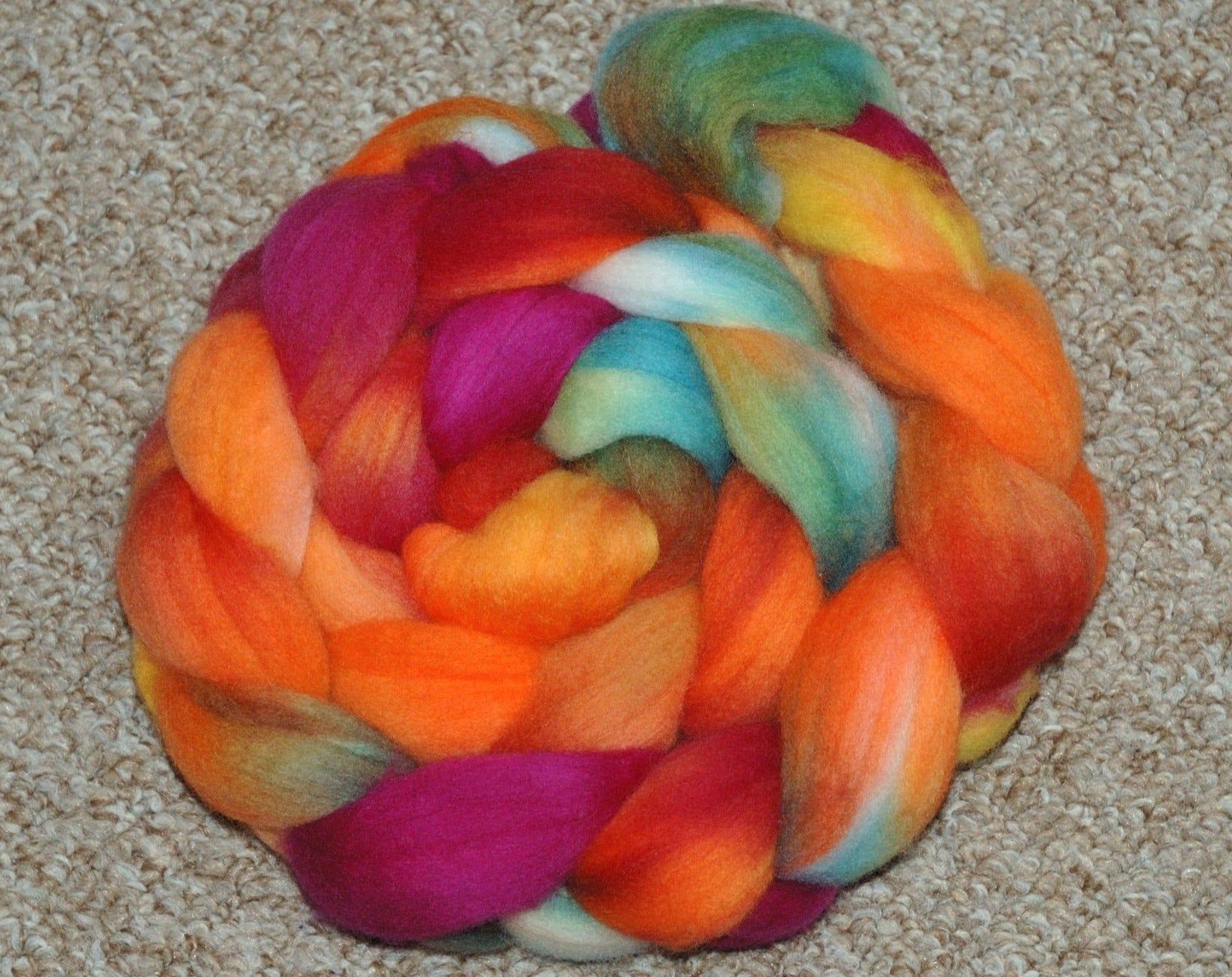 Hand painted Merino Top (100grams) / magenta, yellow, orange and green hues