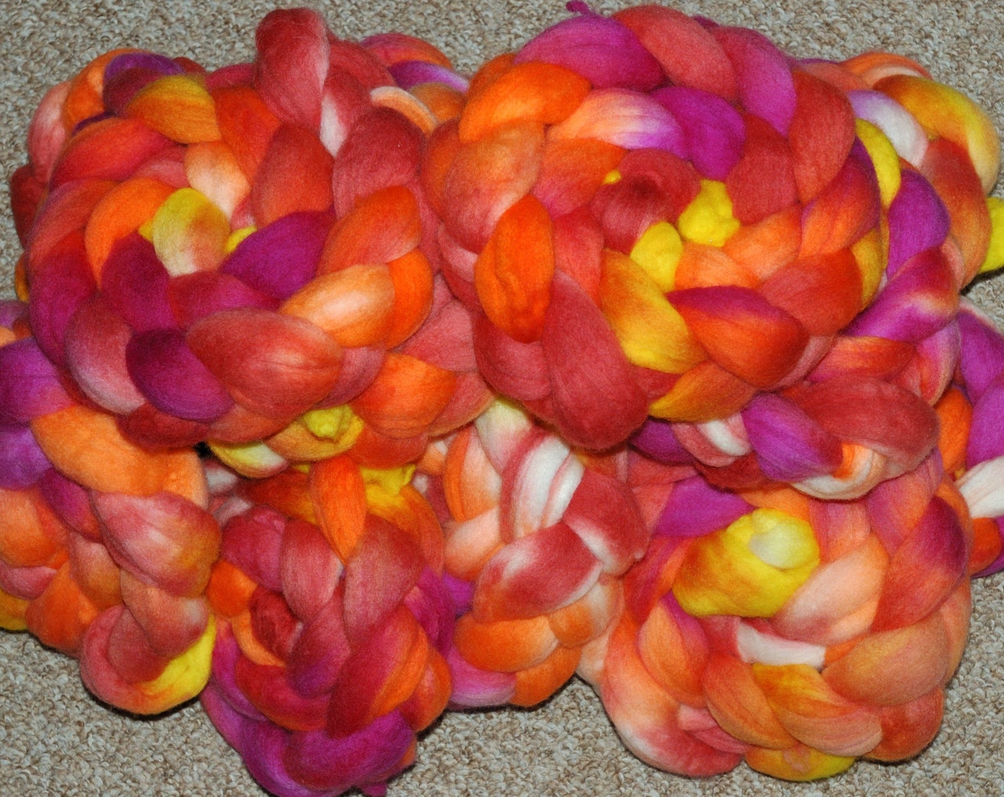 Hand painted Merino Top (100grams) / magenta, yellow, orange and red hues
