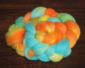 Hand painted Merino Top (100grams) / orange and light blue hues
