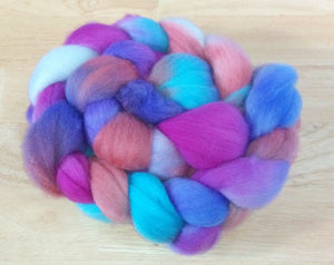 Hand painted Merino Top (100grams) / magenta, violet, turquoise and red hues