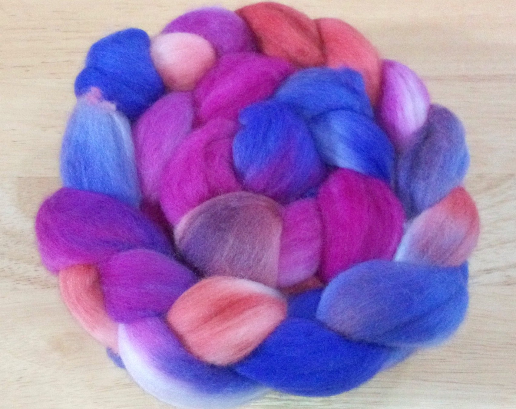 Hand painted Merino Top (100grams) / magenta, violet and red hues