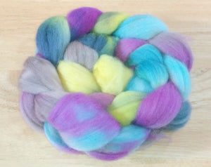 "Hand painted Merino Top (100grams) ""Hare among the wild flowers"""