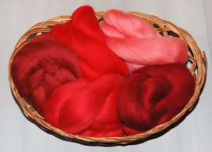 """Red"" Dyed Merino Wool Top Kit (100Grams)"