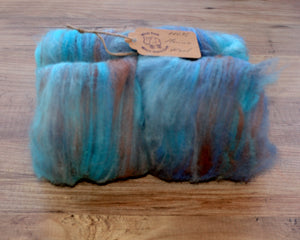 "Hand carded ""Rumble above Skye"" batt."