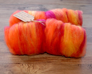 "Hand carded ""Sky at sunset"" batt."