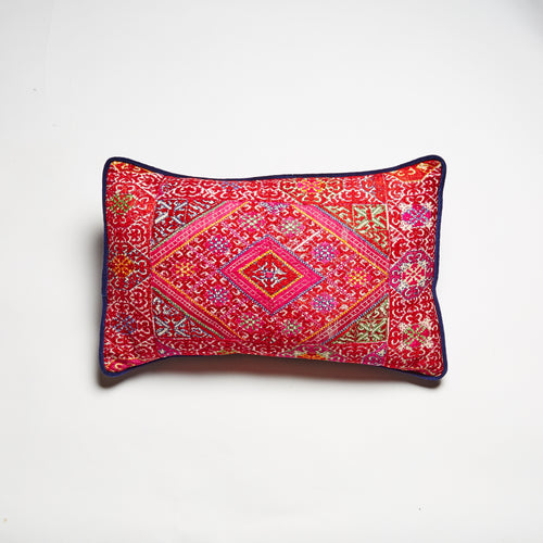 Hand-embroidered Swati (Pakistan) cushion. Striking colourful silk threads. Pink and red, with hints of orange, blue and green