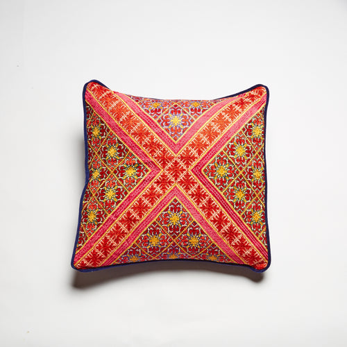 Square swati (Pakistan) cushion. Exquisite hand-embroidered silk.