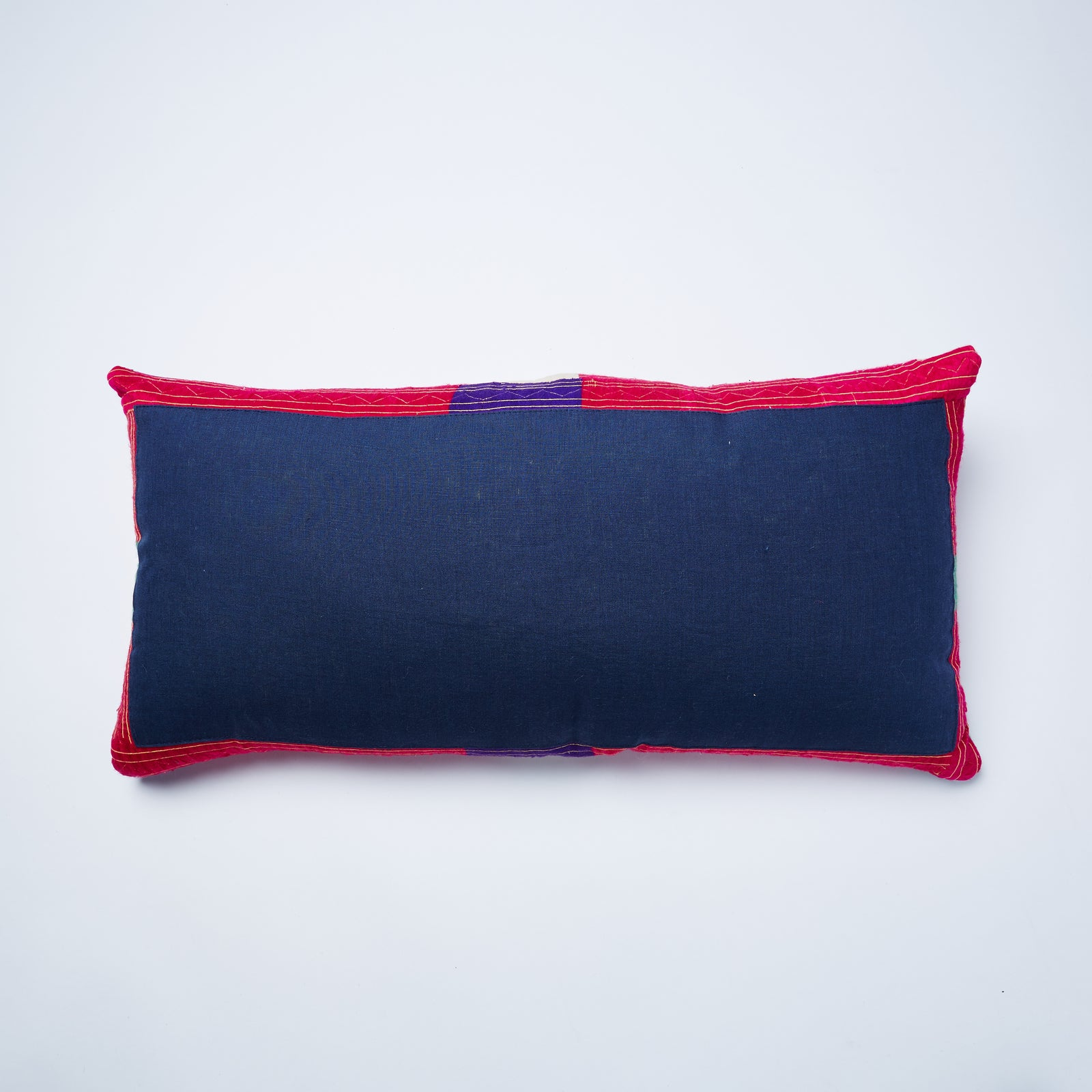 A hand picked blue linen back cover, with hints of the pink silk around the edge, perfectly completes this dashing cushion. Duck feather filling