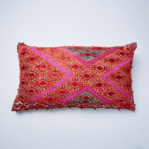 Vintage Swati Cushion made of vibrant pinks and oranges. Stunning, eye-catching home accessory. Asymmetric design and a unique cushion. Duck feather filled