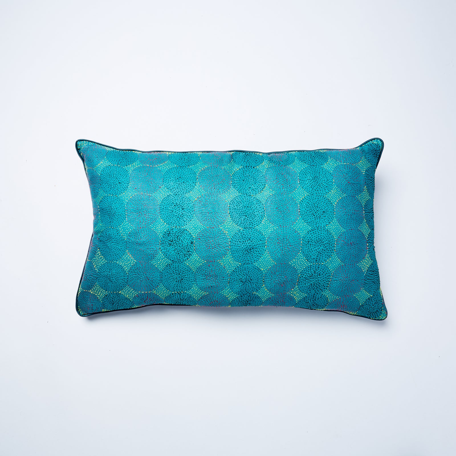 Rectangular cushion with stunning turquoise colours similar to a peacock. With a duck feather filling