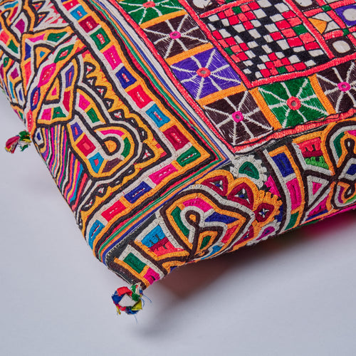 Large Hand Embroidered Indian Cushion