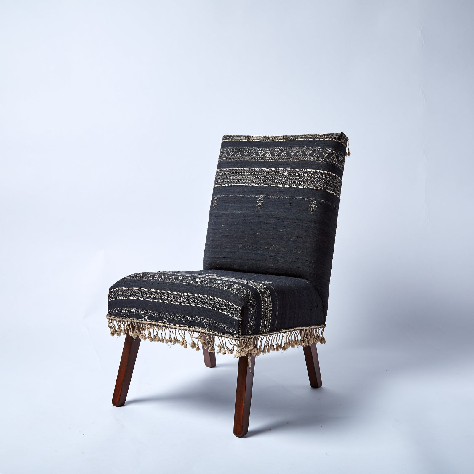 Elegant vintage cocktail chair, reupholstered in striking contemporary but traditional hand-woven wool/silk blend fabric.
