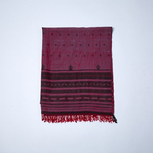 Merino Wool Shawl. The blue and red, warp and weft give this shawl its deep, warming claret colour.