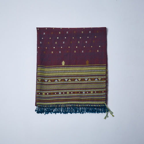 Merino Wool Shawl. The rich claret colour of this shawl comes from the red/blue warp and weft.