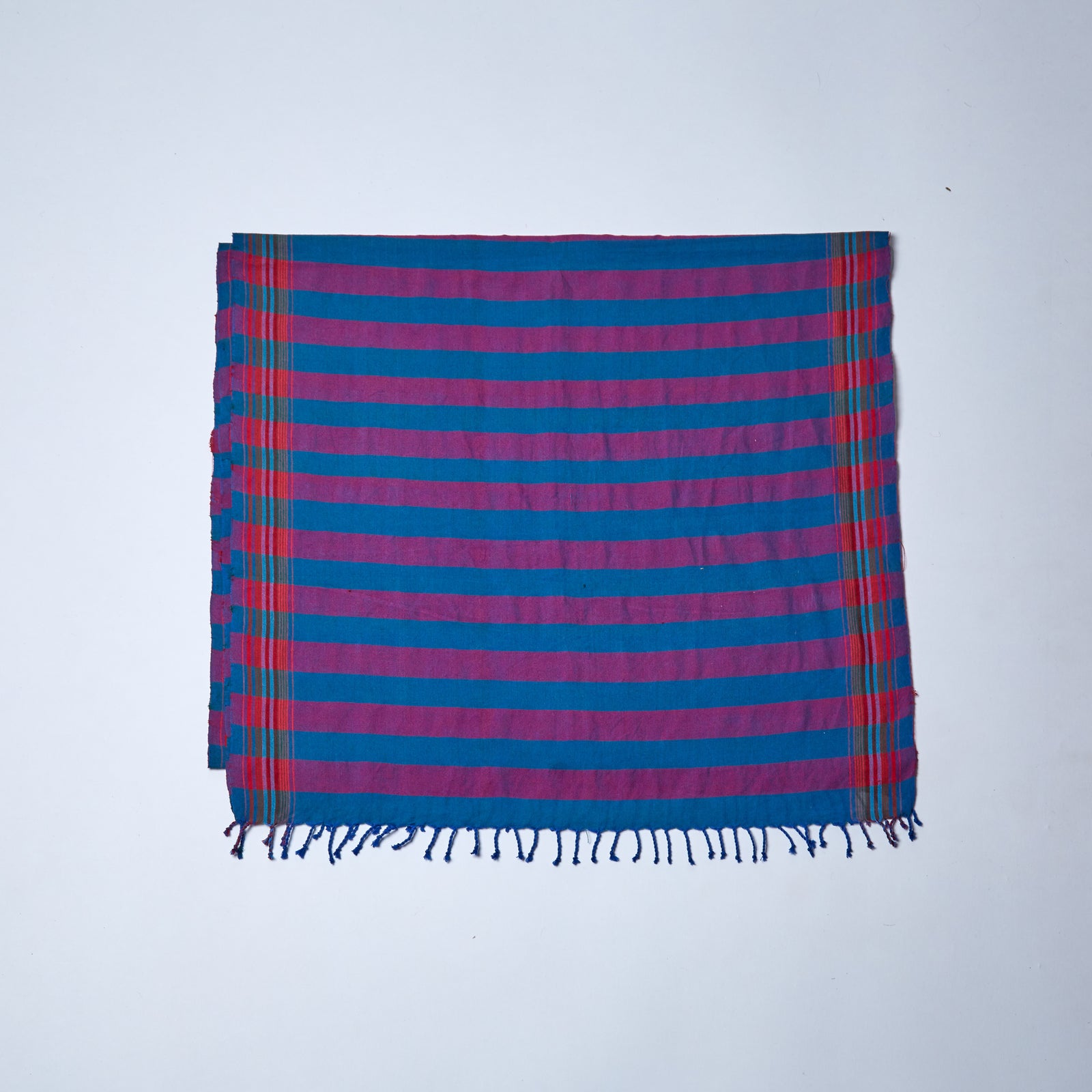Fine Cotton Scarf. Pattee with her bright blue and magenta stripes is undeniably striking and unforgettable, she will be hard to lose or leave behind and will brighten even your most dismal day.