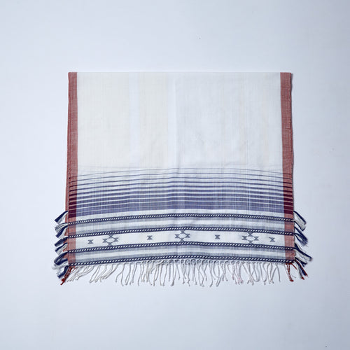 Fine Cotton Scarf. Handwoven fine cotton in classic blue and white with a red trim and intricate rope detail adorning each end of the scarf.