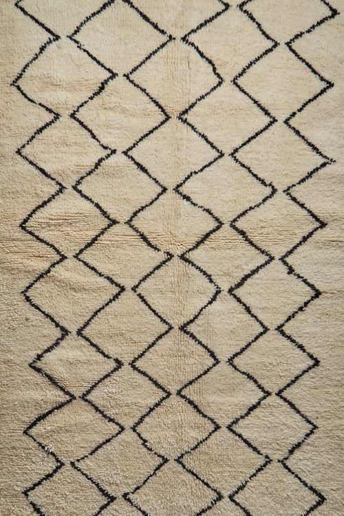 The iconic geometric pattern has a timeless association with the Atlas mountains where the Berber use wool from their own black/brown and white sheep.