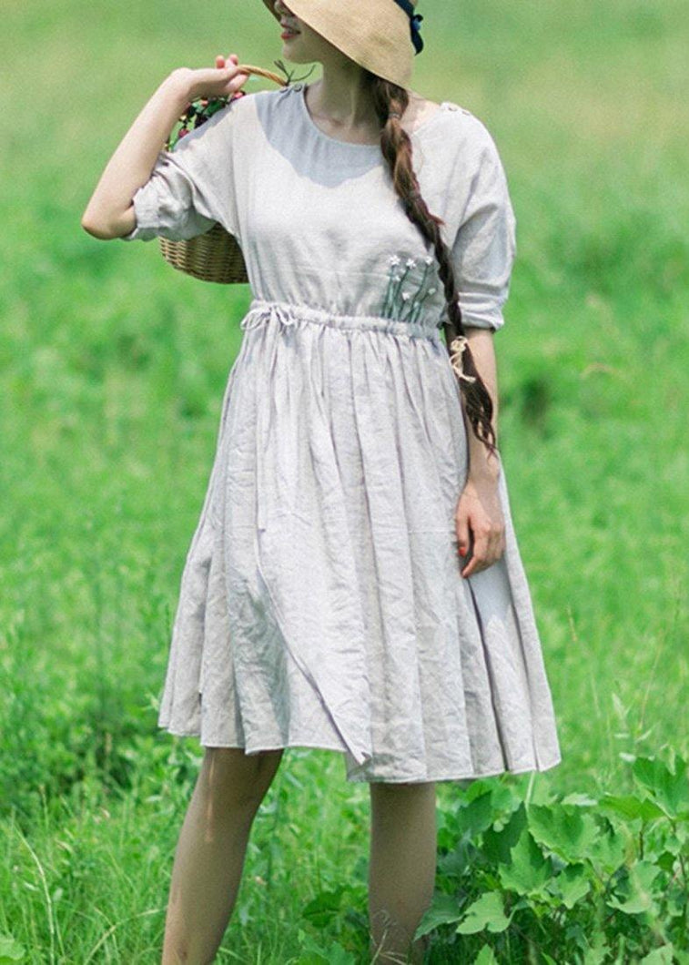 100% Gray Clothes Women O Neck Drawstring Traveling Dresses