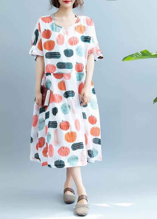 100% Pumpkin  Print Robes O Neck  Maxi Summer Dress