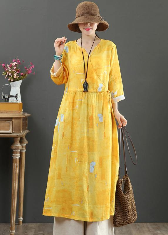 100% Yellow Print Dresses V Neck Tie Waist Robes Spring Dress