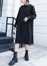 Load image into Gallery viewer, 100% black Cotton tunic top stand collar Button cotton fall Dress