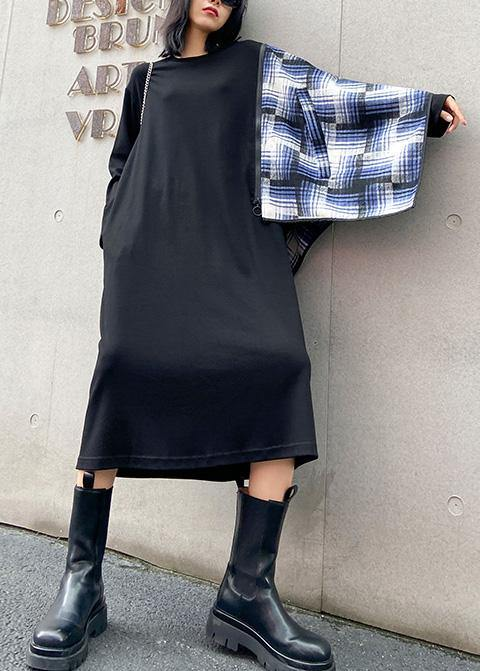 100% black Wardrobes o neck pockets plaid Maxi fall Dress