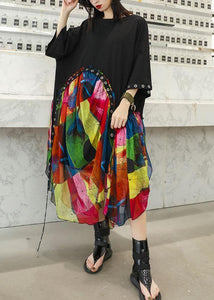 100% black cotton dresses patchwork prints chiffon Traveling summer Dresses
