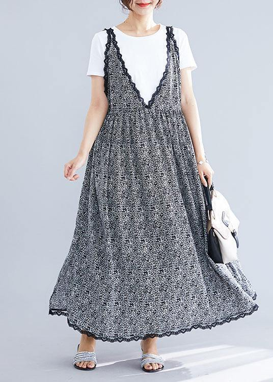 100% black floral v neck chiffon quilting dresses lace ruffles Maxi summer Dress