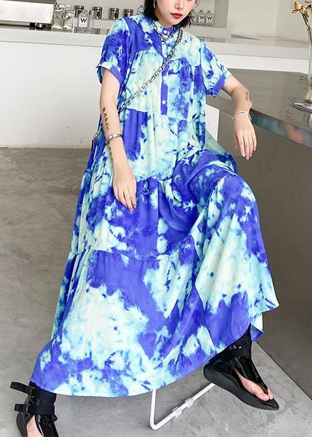 100% blue print cotton tunics for women stand collar patchwork Plus Size Dresses