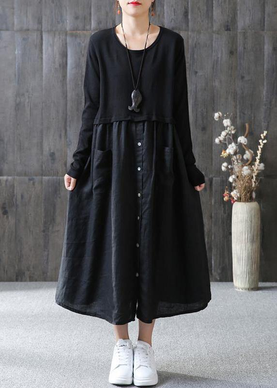 100% cotton Tunic Omychic Cotton Solid Spliced Female Long Sleeve Black Dress