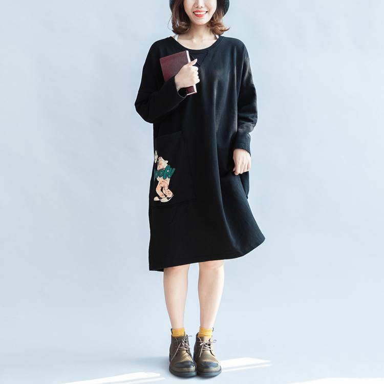 100% cotton black carton sweat dresses long sleeve cotton dresses oversized 146cm bust