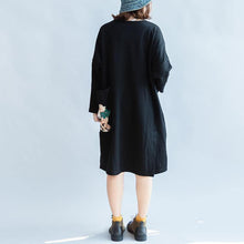 Load image into Gallery viewer, 100% cotton black carton sweat dresses long sleeve cotton dresses oversized 146cm bust