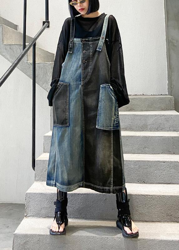 100% denim black cotton quilting clothes Sleeveless pockets Maxi Dresses
