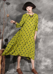 100% dotted linen clothes For Women design yellow Dresses summer