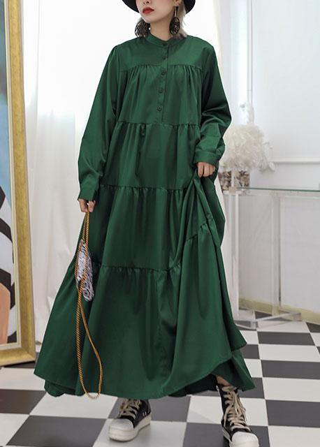 100% green cotton clothes Women patchwork long fall Dresses