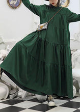 Load image into Gallery viewer, 100% green cotton clothes Women patchwork long fall Dresses
