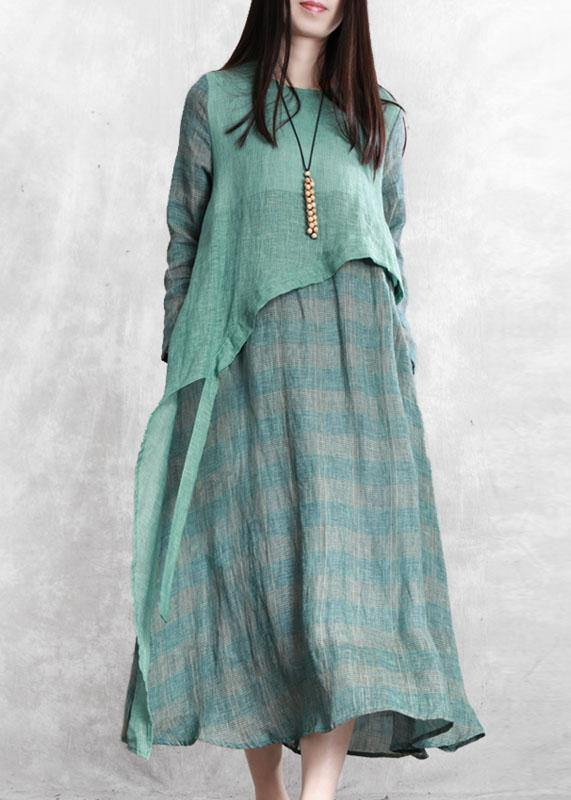 100% green plaid tunic top o neck asymmetric Maxi fall Dresses