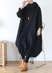 100% hooded asymmetric cotton Wardrobes Work black Maxi Dress