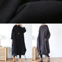 Load image into Gallery viewer, 100% hooded asymmetric cotton Wardrobes Work black Maxi Dress
