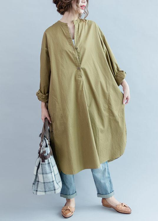 100% khaki cotton clothes Women side open loose fall Dress
