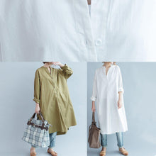 Load image into Gallery viewer, 100% khaki cotton clothes Women side open loose fall Dress