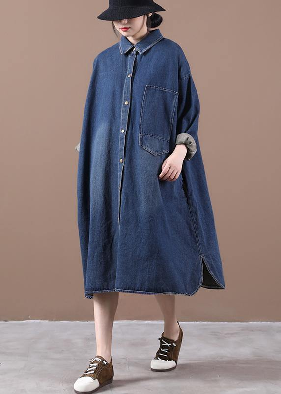 100% lapel patchwork spring outfit Fashion Ideas denim blue long Dress