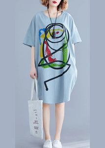 100% light green o neck Cotton clothes Women Cartoon print baggy summer Dresses