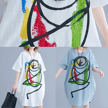Load image into Gallery viewer, 100% light green o neck Cotton clothes Women Cartoon print baggy summer Dresses