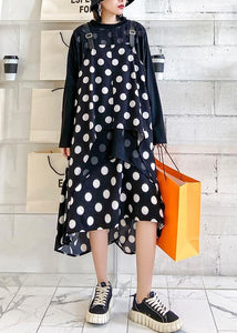 100% o neck asymmetric clothes Tutorials black dotted long Dress