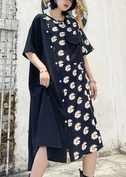 100% o neck asymmetric cotton clothes Shirts black print cotton robes Dress